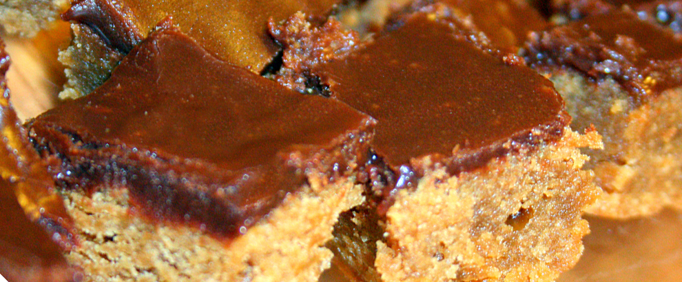 Peanut Butter Blondies with Chocolate Topping