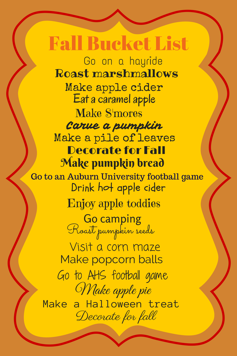 Fall Bucket List 2014