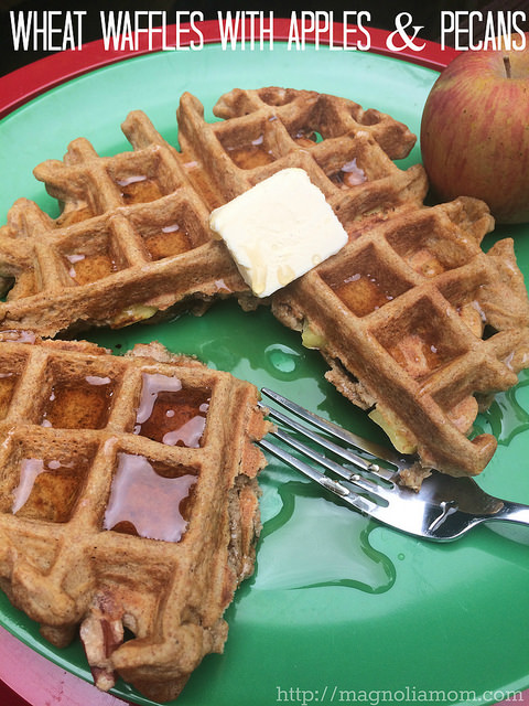 Super yummy as well as healthy breakfast::Whole Wheat Waffles with Apples & Pecans