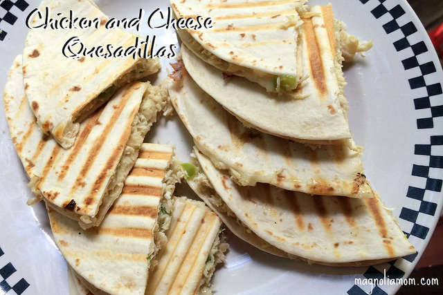 Super easy Chicken And Cheese Quesadillas {Tuesday Tailgate}